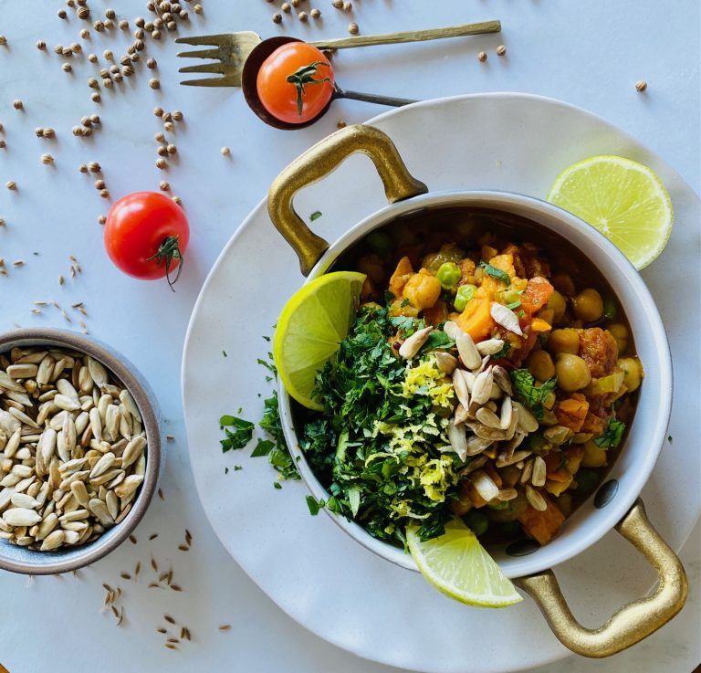 delicious chickpea and sweet potato curry